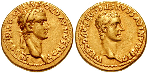 Caligula and Germanicus Coin