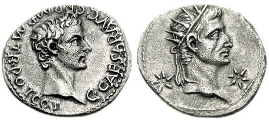 Coin of Caligula and Augustus