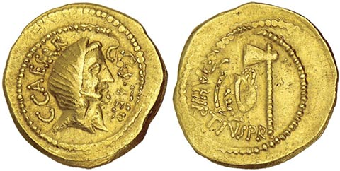 Gold Coin of Julius Caesar