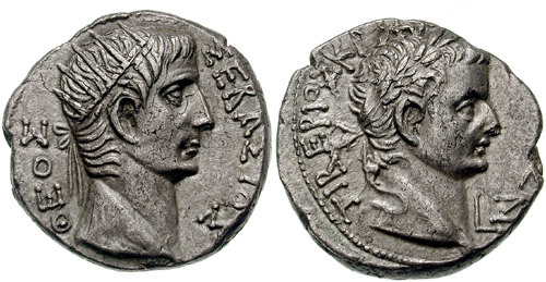 Tetradrachm of Tiberius and Augustus