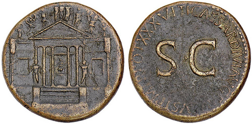 Tiberius with Concordia Temple Coin